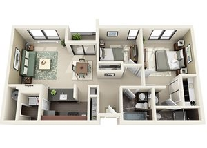 3rd Floor   2 Bedroom, 2 Bathroom