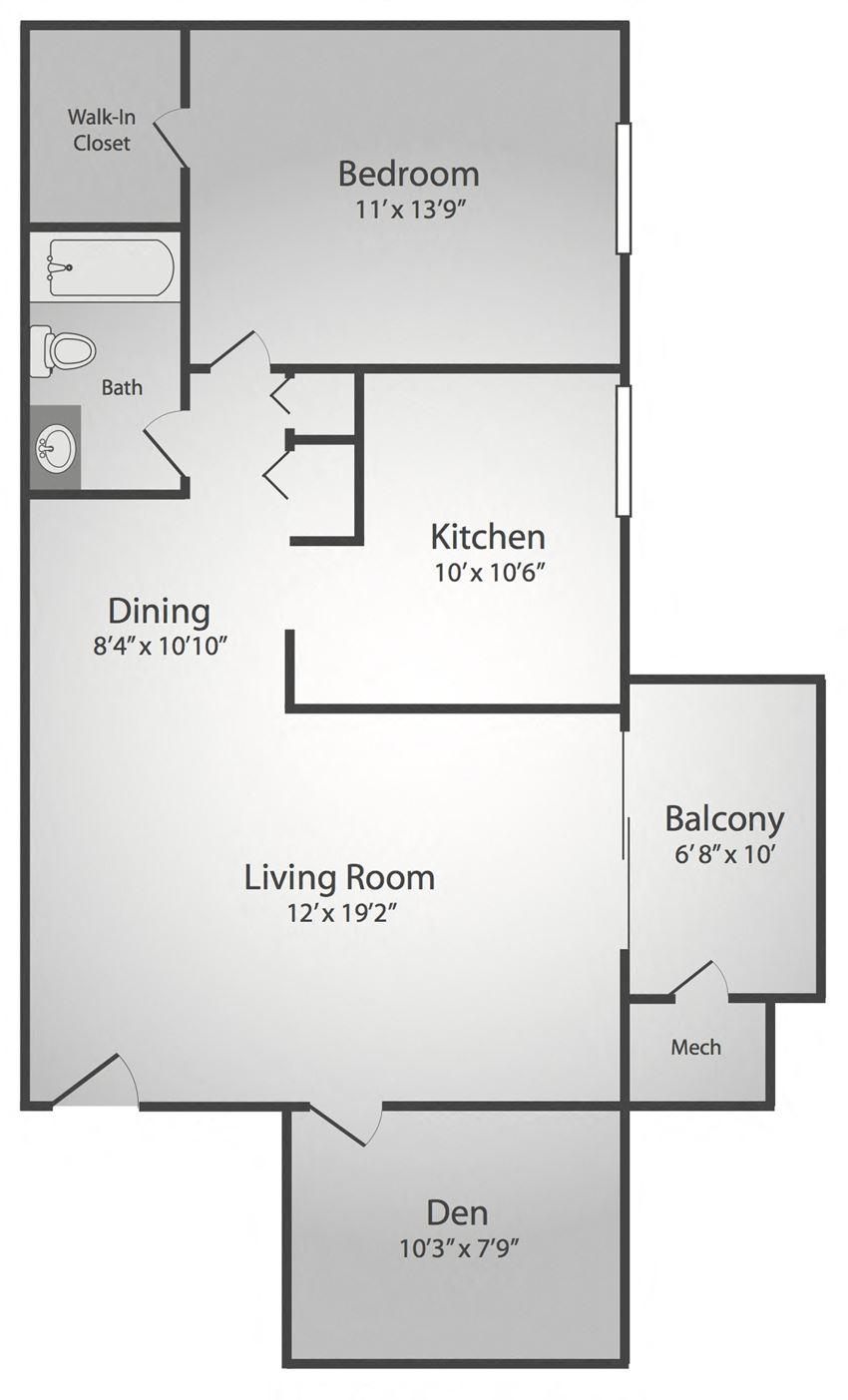 1 Bedroom, 1 Bath, Den