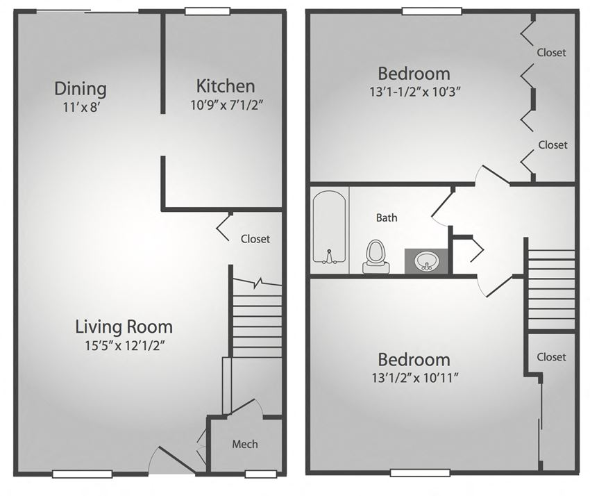 2 Bedroom, 1 Bath Townhouse