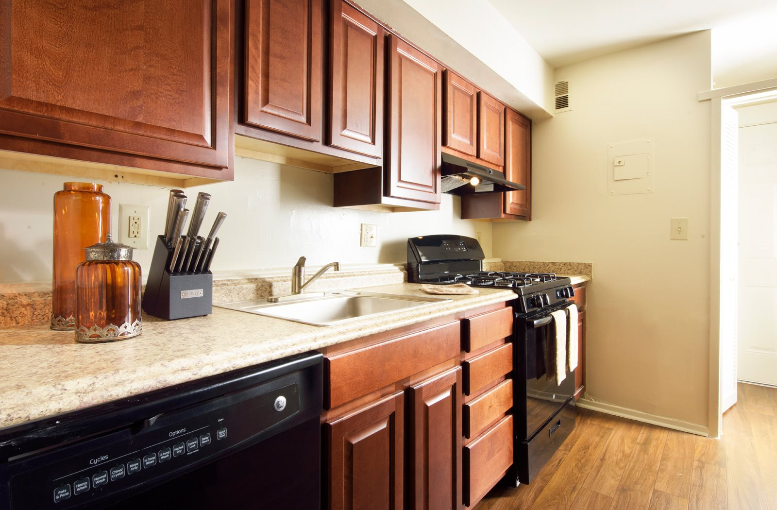 Fully furnished kitchens, at Brook View Apartments, Baltimore, Maryland