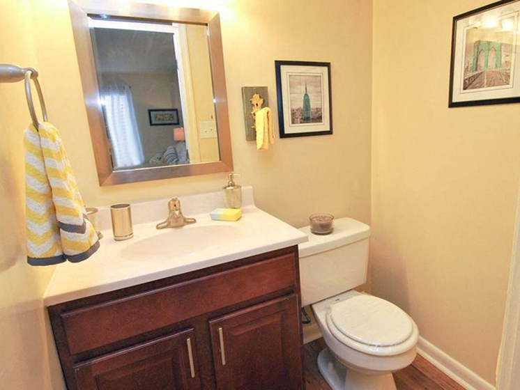 Solid Cultured Marble Bathroom Counter Tops at Courthouse Square Apartments, Towson, MD,21286