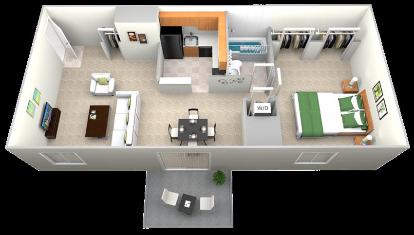 Doncaster Village 1 Bedroom 1 Bath Option 1 Floor Plan 645sf