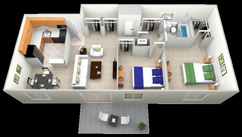 Doncaster Village 2 Bedroom 1 Bath Option 1 Floor Plan 826sf