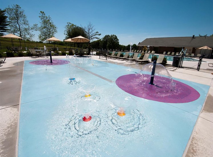 Olympic-size Swimming Pool with Splash Pad at Doncaster Village Apartments, Parkville, MD,21234