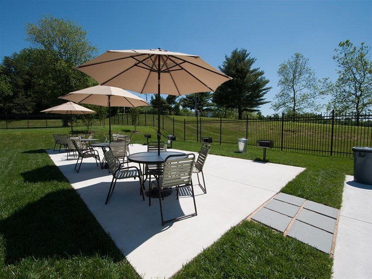 Outdoor Dining Area at Doncaster Village Apartments, Parkville, MD,21234