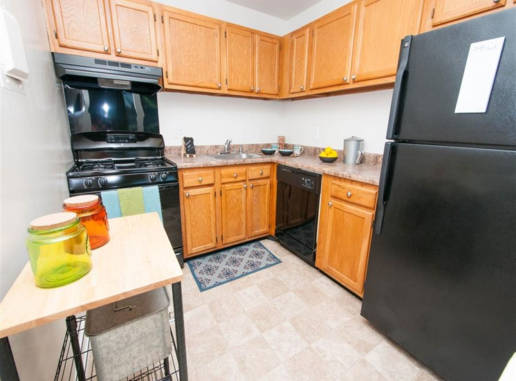 Fully equipped kitchen at Doncaster Village Apartments, Parkville, MD,21234