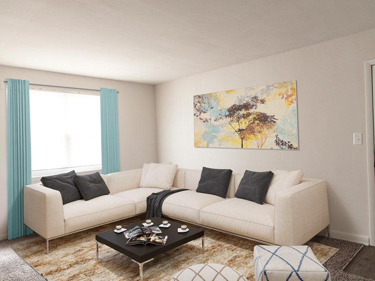 Spacious Living rooms, at Donnybrook Apartments, 7914 Knollwood Road, Towson