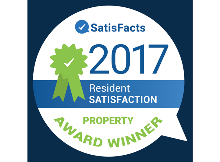 SatisFacts Resident Satisfaction Property Award 2017 at Donnybrook apartments, MD, 21286