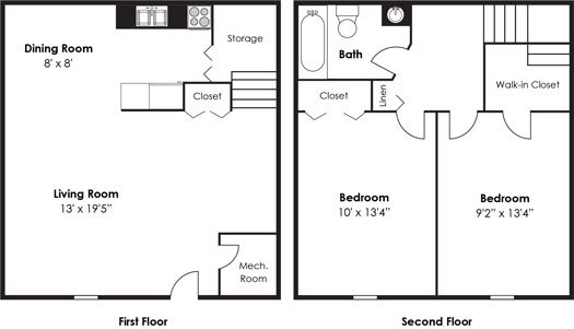 2 Bedroom 1 Bath Townhome Floor Plan 9