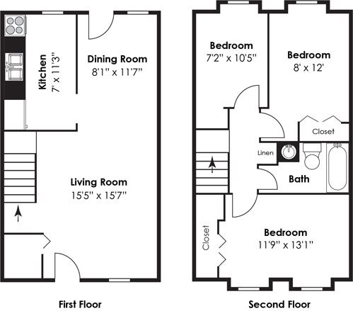 3 Bedroom 1 Bath Townhome Floor Plan 11