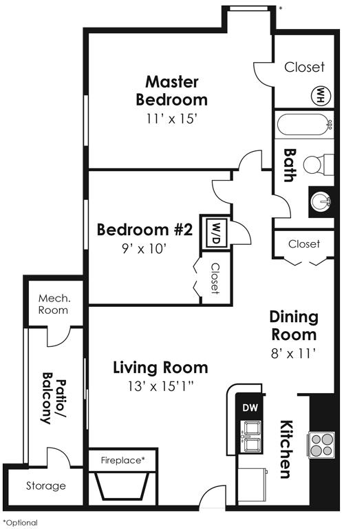 2 Bedroom 1 Bath - CWM II Floor Plan 8