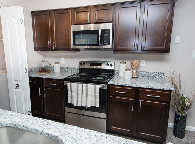 Fully equipped kitchen at The Crossings at White Marsh Apartments, 1 Lincoln Woods Way, Perry Hall