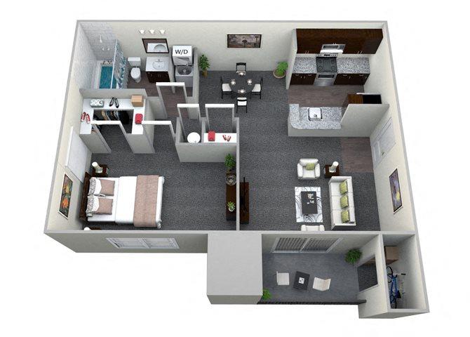 1 Bedroom 1 Bath CWM II Renovated Floor Plan 7