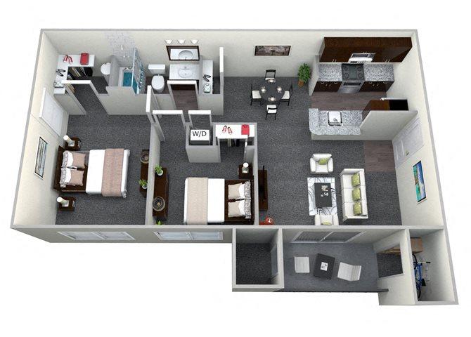 2 Bedroom 1 Bath CWM II Renovated Floor Plan 9