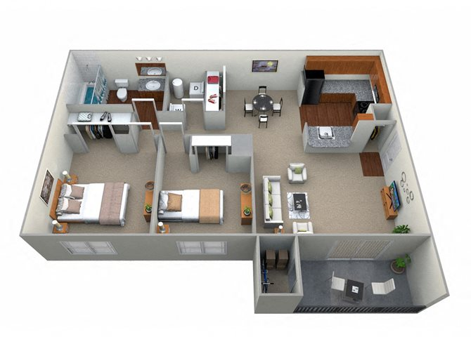 2 Bedroom 1 Bath - CWM I Floor Plan 2