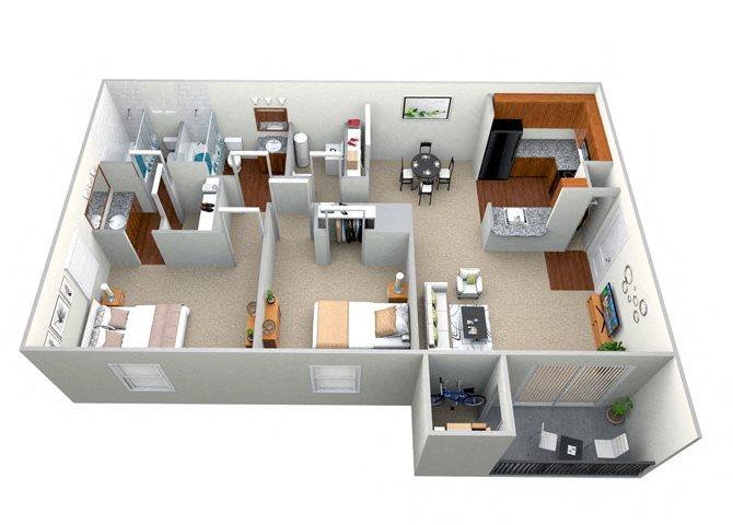 2 Bedroom 2 Bath - CWM I Floor Plan 4