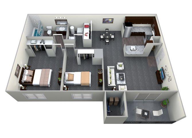 2 Bedroom 1 Bath CWM I Renovated Floor Plan 3