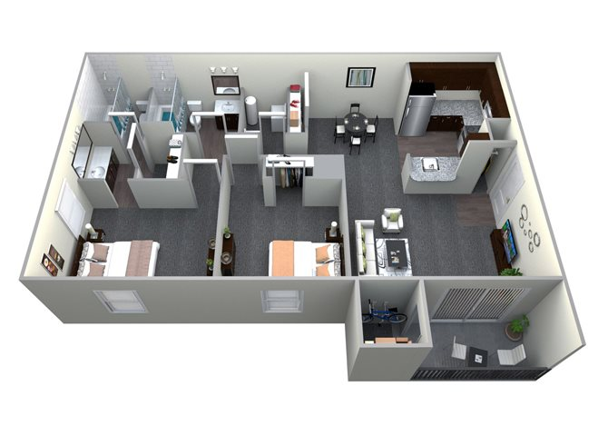 2 Bedroom 2 Bath CWM I Renovated Floor Plan 5