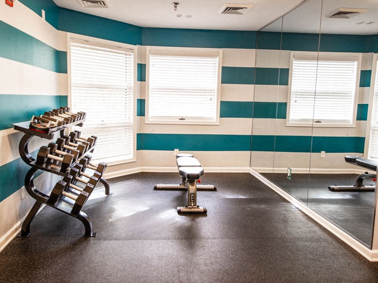 Free Weights in Gym at The Crossings at White Marsh Apartments, Perry Hall