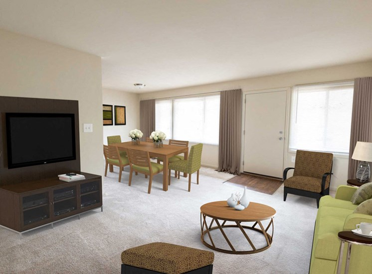 Falls Village Renovated Living Room and Dining Area