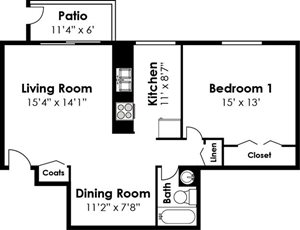 1 Bedroom 1 Bath Hampton Floorplan at Ridge Gardens Apartments, Parkville, MD