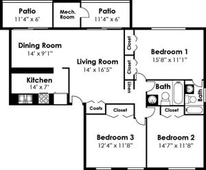 3 Bedroom 2 Bath Vanderbuilt Floorplan at Ridge Gardens Apartments, Parkville, MD