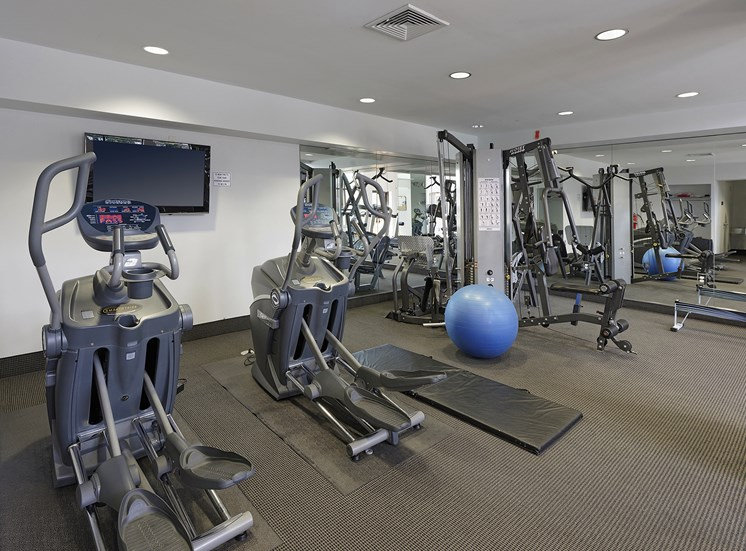 Fitness Center with updated equipment at Ridge Gardens Apartments, Parkville, MD, 21234