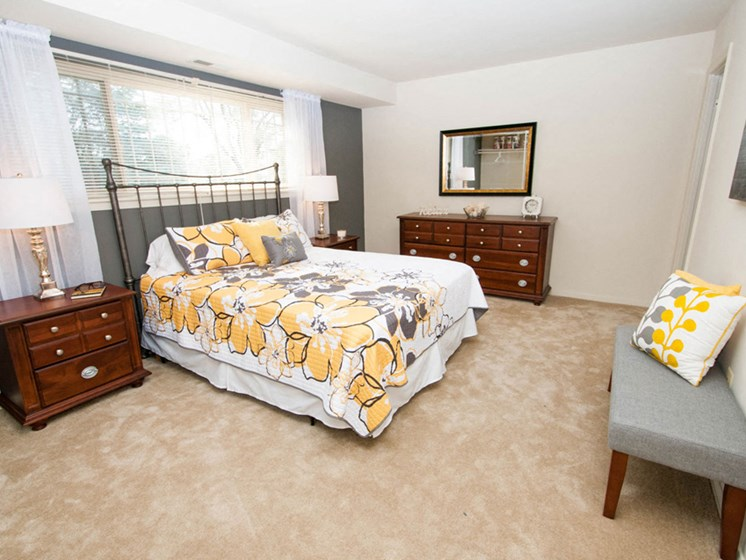 Live in cozy bedrooms at Ridge Gardens Apartments, 8509 Old Harford Road, Parkville, MD, 21234