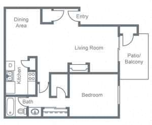 1 Bedroom, 1 Bathroom Floor Plan 1
