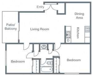 2 Bedrooms, 1 Bathroom A