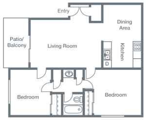 2 Bedrooms, 1 Bathroom B Floor Plan 3