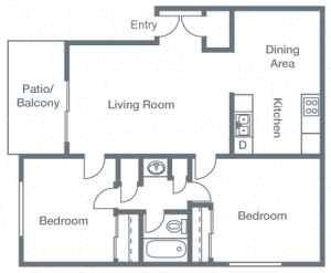 2 Bedrooms, 1 Bathroom B Floor Plan 3