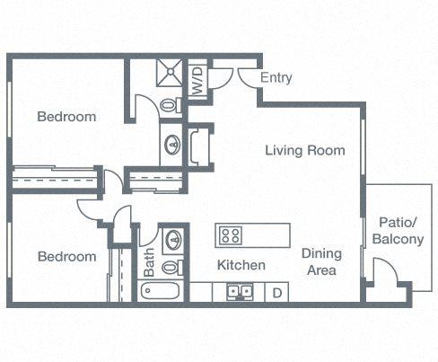 2 Bedrooms, 2 Bathrooms Floor Plan 4