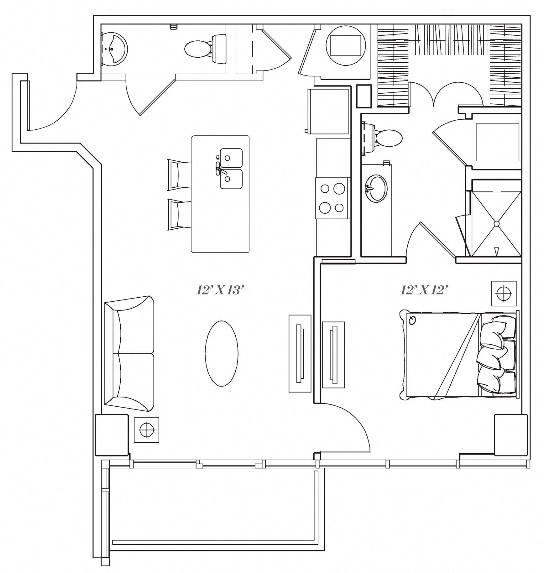 1B Floor Plan 3