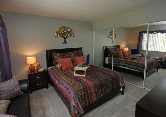 Transitional Master Carpeted Bedroom at Park West Apartments, California, 91710
