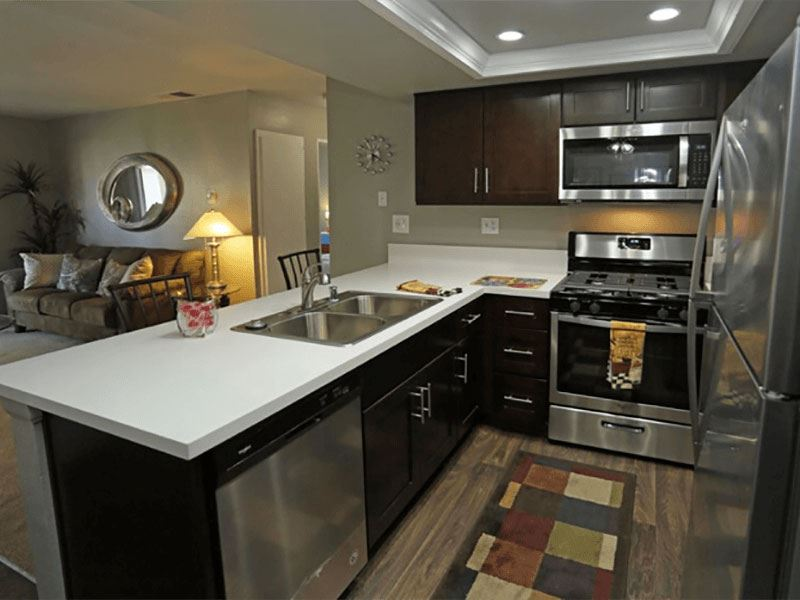 Fully Equipped Kitchen at Park West Apartments, Chino, CA, 91710
