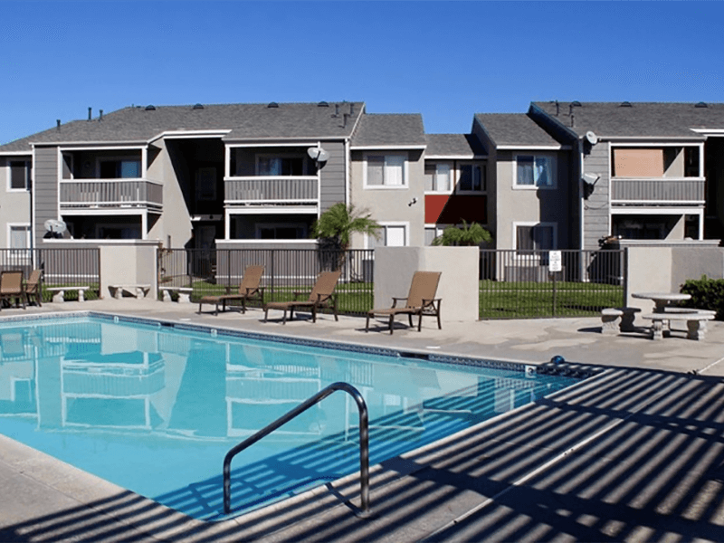 Pool Side Relaxing Area at Park West Apartments, Chino, California