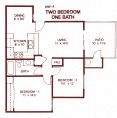 2 Bedroom 1 Bath (Downstairs) Floor Plan at Park West Apartments, Chino, California