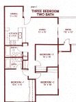 3 Bedroom 2 Bathroom ( Downstairs) Floor Plan at Park West Apartments, Chino, California