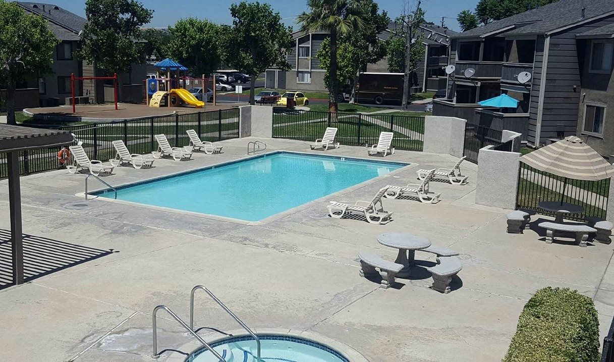 Comfy Pool Chairs at Park West Apartments, California