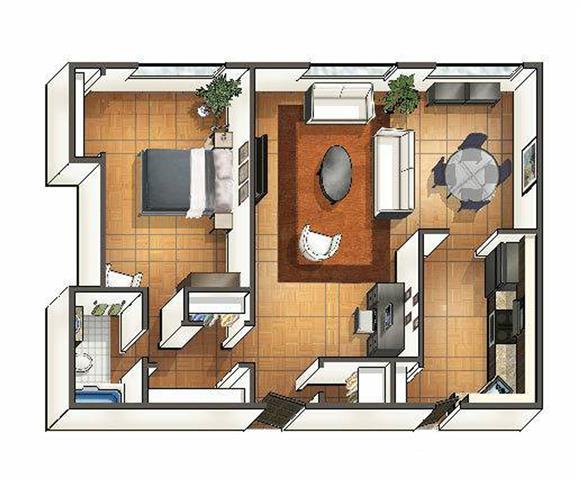 Exceptionnel One Bedroom One Bath Floor Plan 1