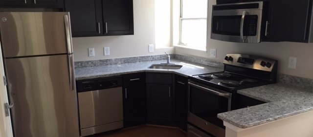 Gourmet Kitchen with Breakfast Bar and Pantry at Woodbury Park Apartments at Courthouse, Arlington