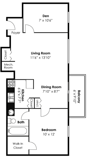 1 Bedroom 1 Bath Den