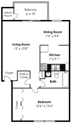 1 Bedroom 1 Bath Renovated
