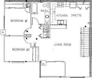 2 Bedroom 1 Bath Large