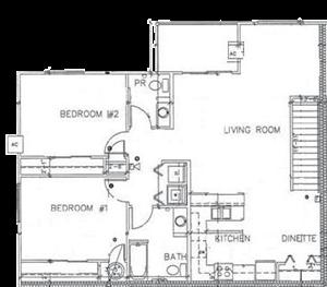 2 Bedroom 1.5 Bath Large