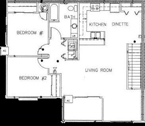 2 Bedroom 1 Bath Large