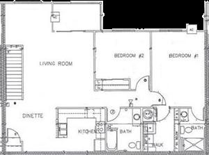 2 Bedroom 2 Bath Large