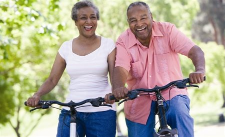 stock image-seniors, bicycles