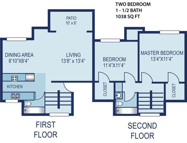 2 Bedroom Townhouse Floor Plan 5
